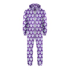 Scales3 White Marble & Purple Brushed Metal (r) Hooded Jumpsuit (kids) by trendistuff