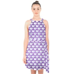 Scales3 White Marble & Purple Brushed Metal (r) Halter Collar Waist Tie Chiffon Dress