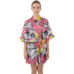 Illustration Rabbit Easter Quarter Sleeve Kimono Robe by Sapixe