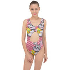 Illustration Rabbit Easter Center Cut Out Swimsuit