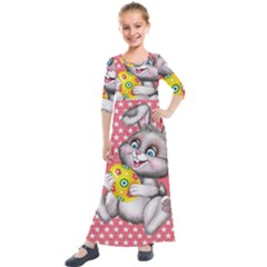 Illustration Rabbit Easter Kids  Quarter Sleeve Maxi Dress by Sapixe