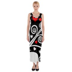 Ornament Background Fitted Maxi Dress