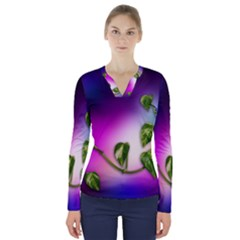 Leaves Green Leaves Background V Neck Long Sleeve Top