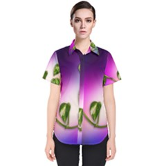 Leaves Green Leaves Background Women s Short Sleeve Shirt