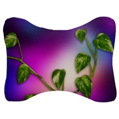 Leaves Green Leaves Background Velour Seat Head Rest Cushion by Sapixe