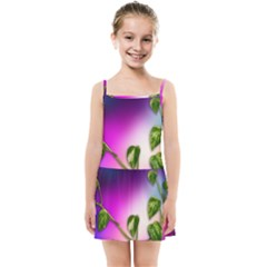 Leaves Green Leaves Background Kids Summer Sun Dress by Sapixe