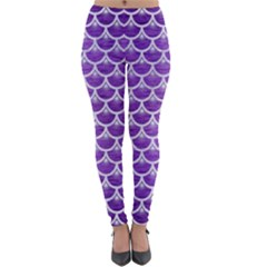 Scales3 White Marble & Purple Brushed Metal Lightweight Velour Leggings by trendistuff