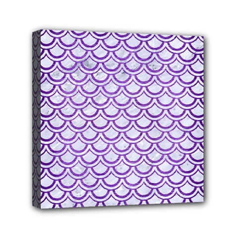 Scales2 White Marble & Purple Brushed Metal (r) Mini Canvas 6  X 6