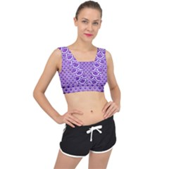 Scales2 White Marble & Purple Brushed Metal V Back Sports Bra