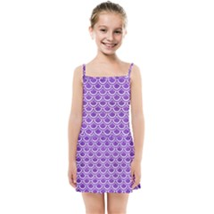 Scales2 White Marble & Purple Brushed Metal Kids Summer Sun Dress