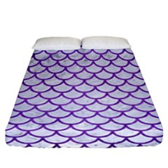 Scales1 White Marble & Purple Brushed Metal (r) Fitted Sheet (california King Size) by trendistuff