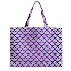 Scales1 White Marble & Purple Brushed Metal (r) Zipper Mini Tote Bag by trendistuff