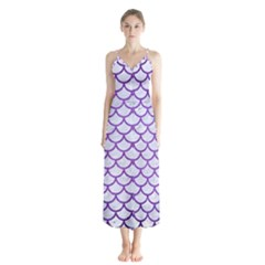 Scales1 White Marble & Purple Brushed Metal (r) Button Up Chiffon Maxi Dress