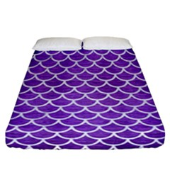 Scales1 White Marble & Purple Brushed Metal Fitted Sheet (california King Size) by trendistuff