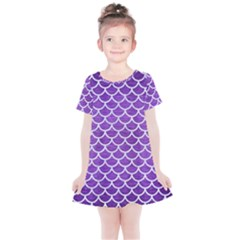 Scales1 White Marble & Purple Brushed Metal Kids  Simple Cotton Dress