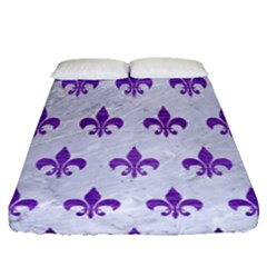 Royal1 White Marble & Purple Brushed Metal Fitted Sheet (queen Size) by trendistuff