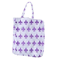 Royal1 White Marble & Purple Brushed Metal Giant Grocery Zipper Tote by trendistuff