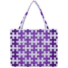 Puzzle1 White Marble & Purple Brushed Metal Mini Tote Bag by trendistuff