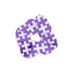 Puzzle1 White Marble & Purple Brushed Metal Velvet Scrunchie by trendistuff