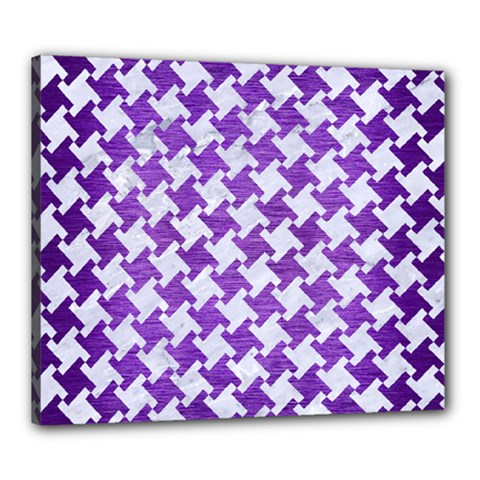 Houndstooth2 White Marble & Purple Brushed Metal Canvas 24  X 20