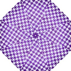 Houndstooth2 White Marble & Purple Brushed Metal Golf Umbrellas by trendistuff