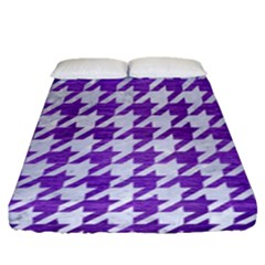 Houndstooth1 White Marble & Purple Brushed Metal Fitted Sheet (queen Size) by trendistuff