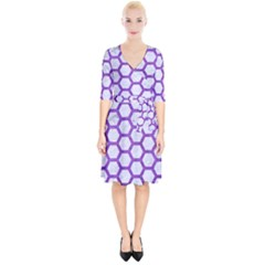 Hexagon2 White Marble & Purple Brushed Metal (r) Wrap Up Cocktail Dress
