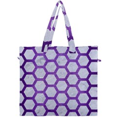 Hexagon2 White Marble & Purple Brushed Metal (r) Canvas Travel Bag by trendistuff