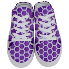 Hexagon2 White Marble & Purple Brushed Metal Half Slippers