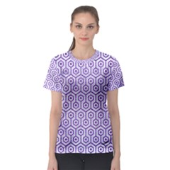 Hexagon1 White Marble & Purple Brushed Metal (r) Women s Sport Mesh Tee by trendistuff