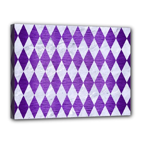 Diamond1 White Marble & Purple Brushed Metal Canvas 16  X 12  by trendistuff
