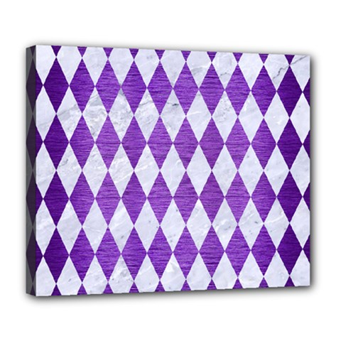 Diamond1 White Marble & Purple Brushed Metal Deluxe Canvas 24  X 20   by trendistuff