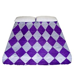 Diamond1 White Marble & Purple Brushed Metal Fitted Sheet (queen Size) by trendistuff