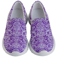 Damask2 White Marble & Purple Brushed Metal Kid s Lightweight Slip Ons