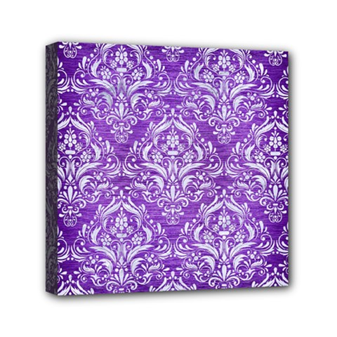 Damask1 White Marble & Purple Brushed Metal Mini Canvas 6  X 6  by trendistuff