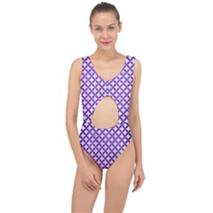 Circles3 White Marble & Purple Brushed Metal (r) Center Cut Out Swimsuit