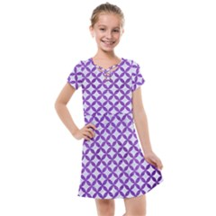 Circles3 White Marble & Purple Brushed Metal (r) Kids  Cross Web Dress