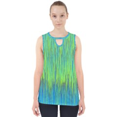 Green Blue Striped Cut Out Tank Top