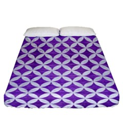 Circles3 White Marble & Purple Brushed Metal Fitted Sheet (queen Size) by trendistuff