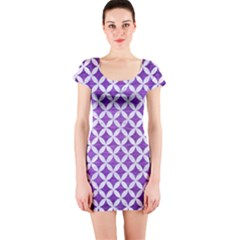 Circles3 White Marble & Purple Brushed Metal Short Sleeve Bodycon Dress