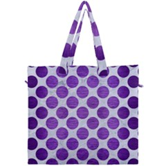 Circles2 White Marble & Purple Brushed Metal (r) Canvas Travel Bag by trendistuff