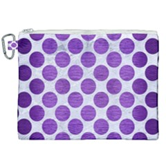 Circles2 White Marble & Purple Brushed Metal (r) Canvas Cosmetic Bag (xxl) by trendistuff