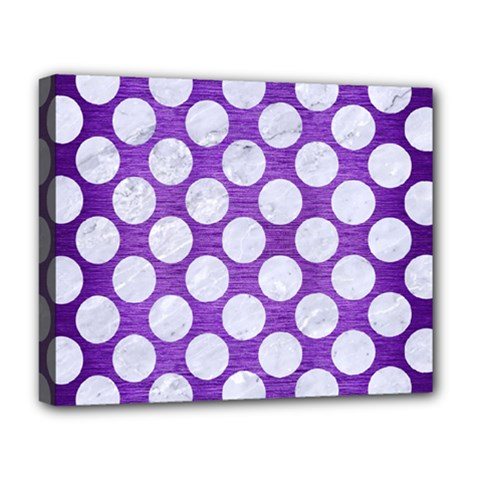 Circles2 White Marble & Purple Brushed Metal Deluxe Canvas 20  X 16   by trendistuff