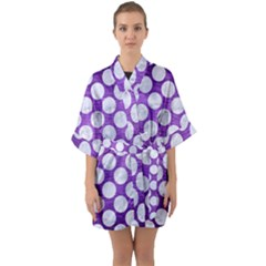 Circles2 White Marble & Purple Brushed Metal Quarter Sleeve Kimono Robe