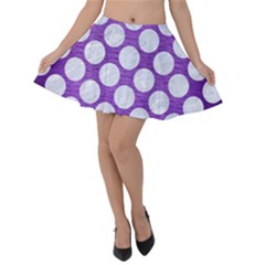 Circles2 White Marble & Purple Brushed Metal Velvet Skater Skirt