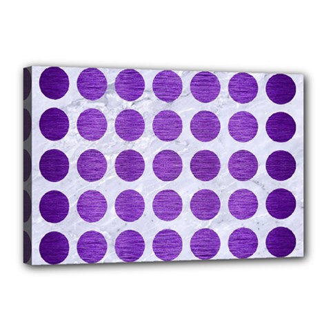 Circles1 White Marble & Purple Brushed Metal (r) Canvas 18  X 12  by trendistuff