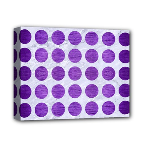 Circles1 White Marble & Purple Brushed Metal (r) Deluxe Canvas 14  X 11  by trendistuff