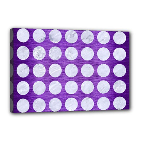 Circles1 White Marble & Purple Brushed Metal Canvas 18  X 12  by trendistuff