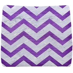 Chevron9 White Marble & Purple Brushed Metal (r) Seat Cushion by trendistuff