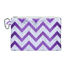 Chevron9 White Marble & Purple Brushed Metal (r) Canvas Cosmetic Bag (large) by trendistuff